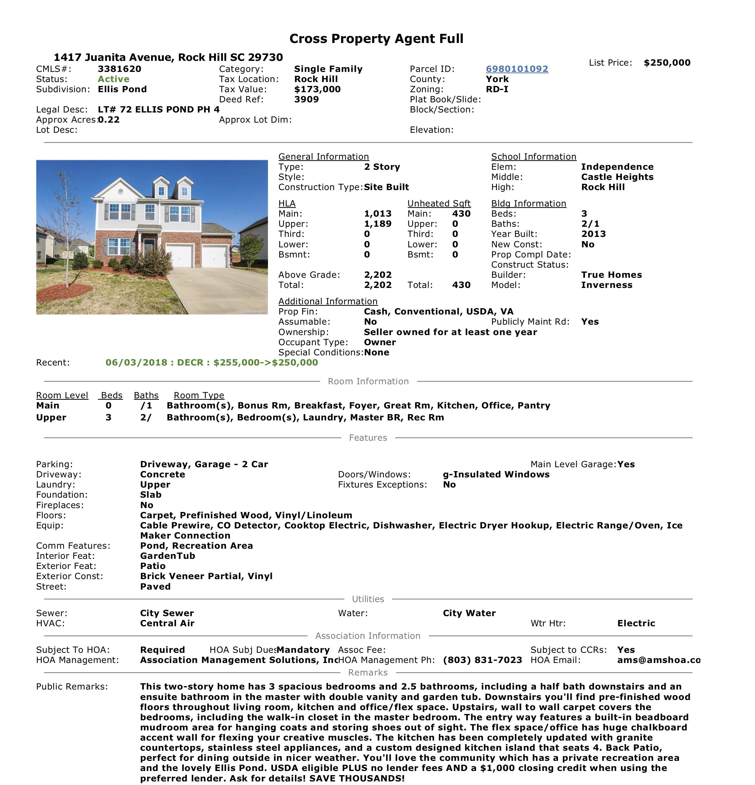 MLS Data Sheet 1417 Juanita Avenue